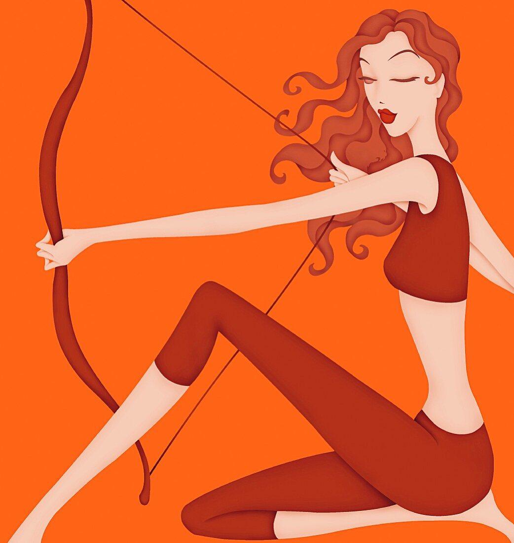 Beautiful woman holding bow posing as astrology sign Sagittarius
