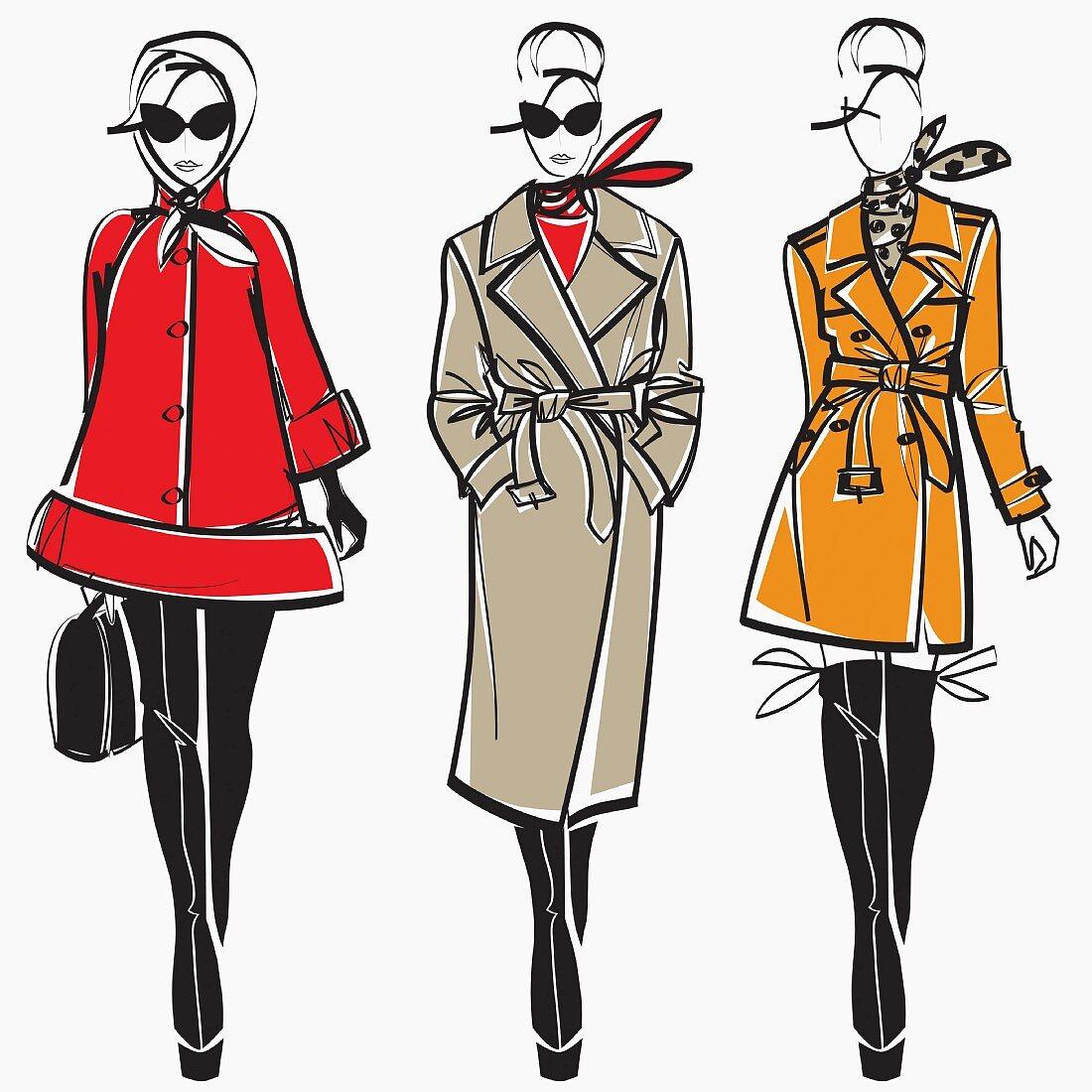 Three elegant fashion models side by side approaching camera wearing coats