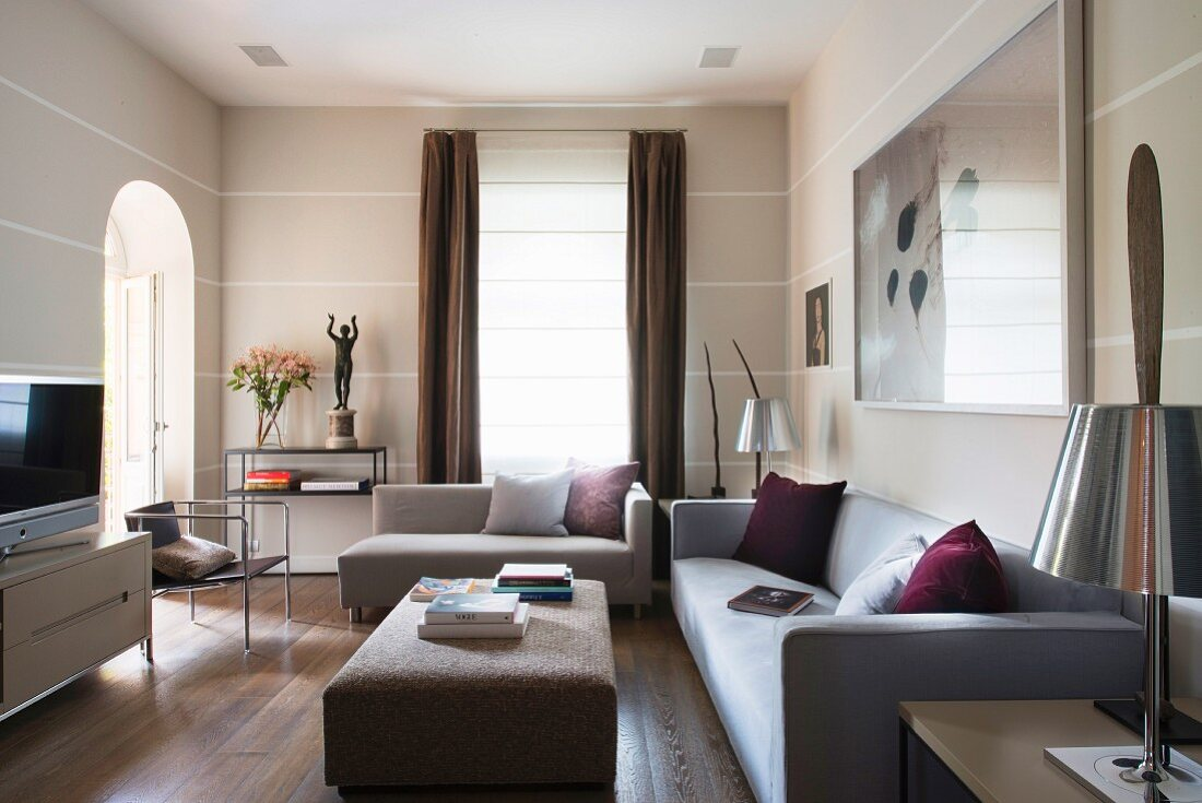 Modern living room with striped walls
