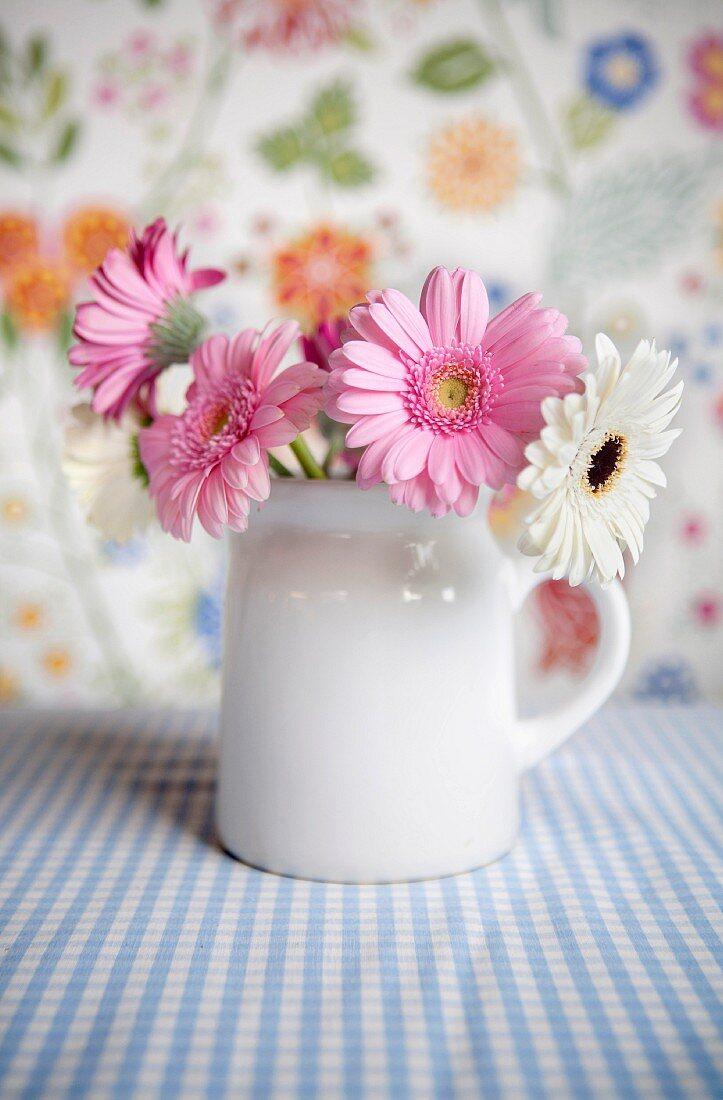 weiße und rosa Gerbera in Krugvase