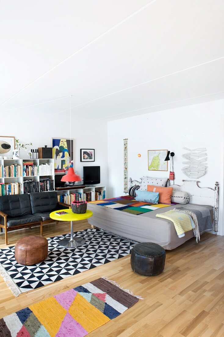 Eclectic mix of styles and graphic patterns in living room