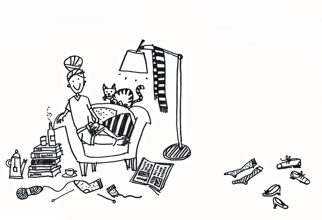 An illustration about tidying up: Cosy clutter in a single's apartment