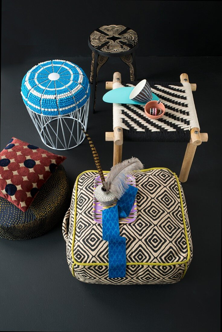 Various African-style seats with ethnic patterns