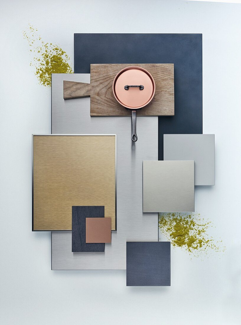 A selection of ceramic and metal kitchen cabinet panels