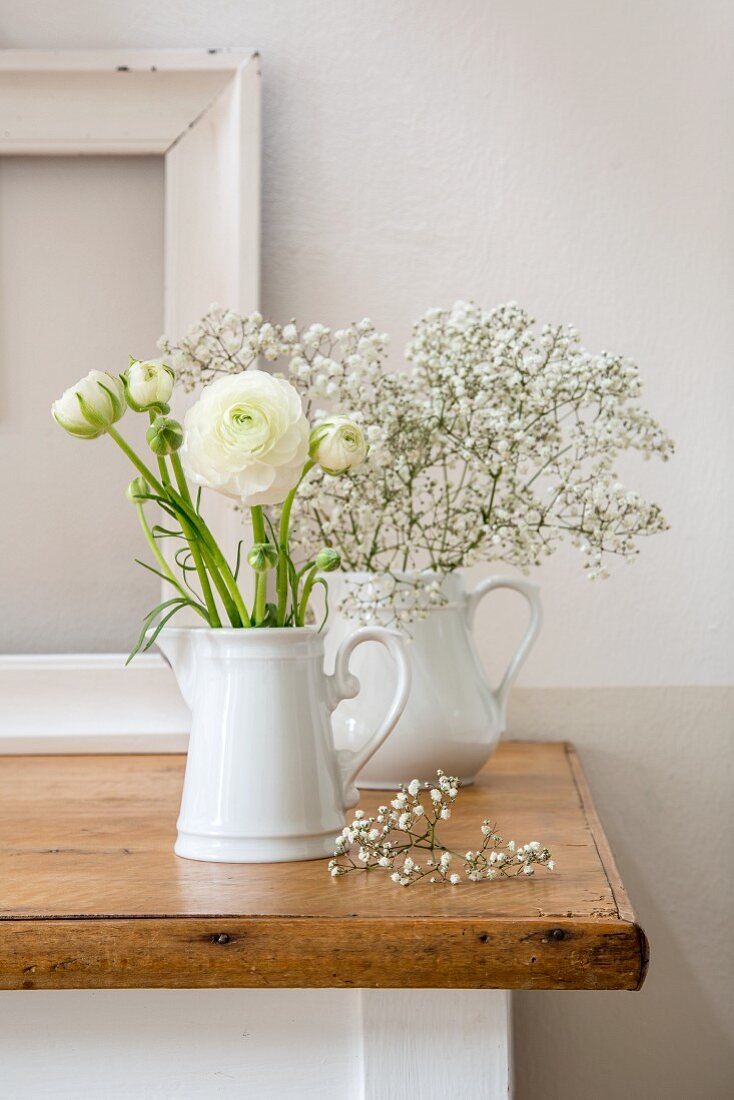 Ranunculus and gypsophila in two white milk jugs