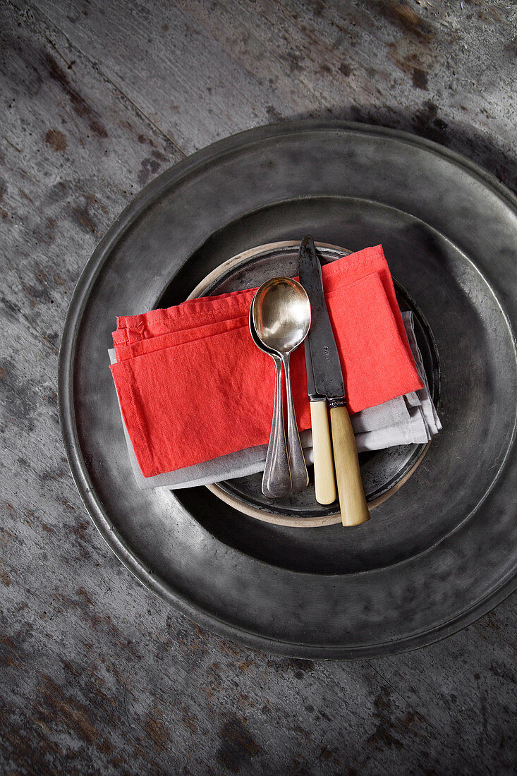Knives with horn handles, silver spoons and napkins on pewter plates