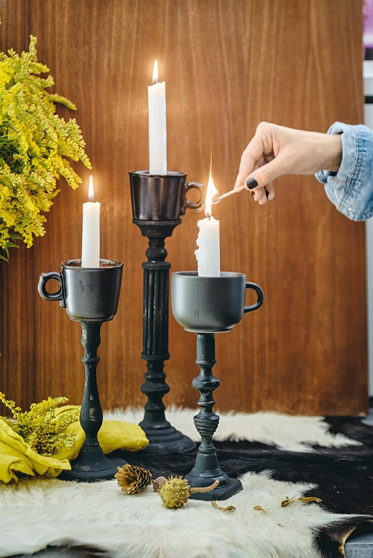 Candlesticks made from old cups