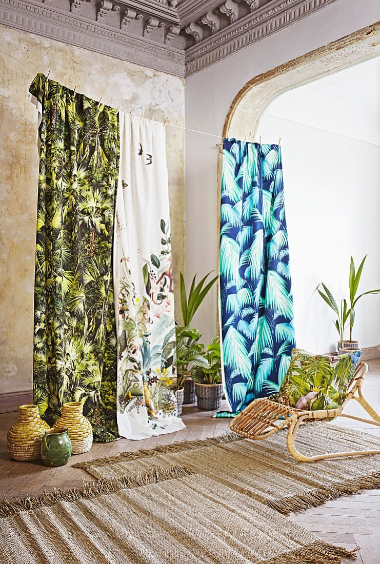 Lengths of fabric with jungle designs