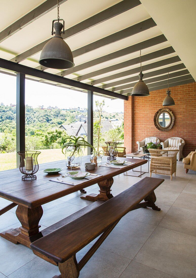 Long Wooden Dining Table And Bench In Buy Image 12356309 Living4media