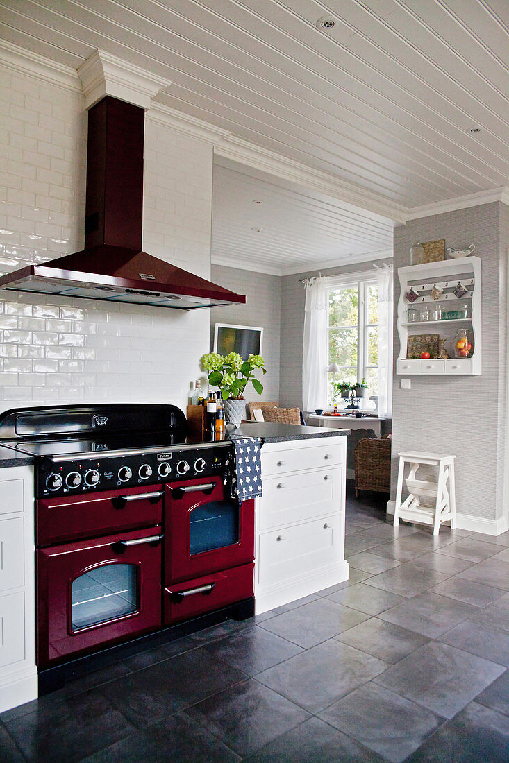 Red Cooker In Large White Country House Buy Image 12358603 Living4media