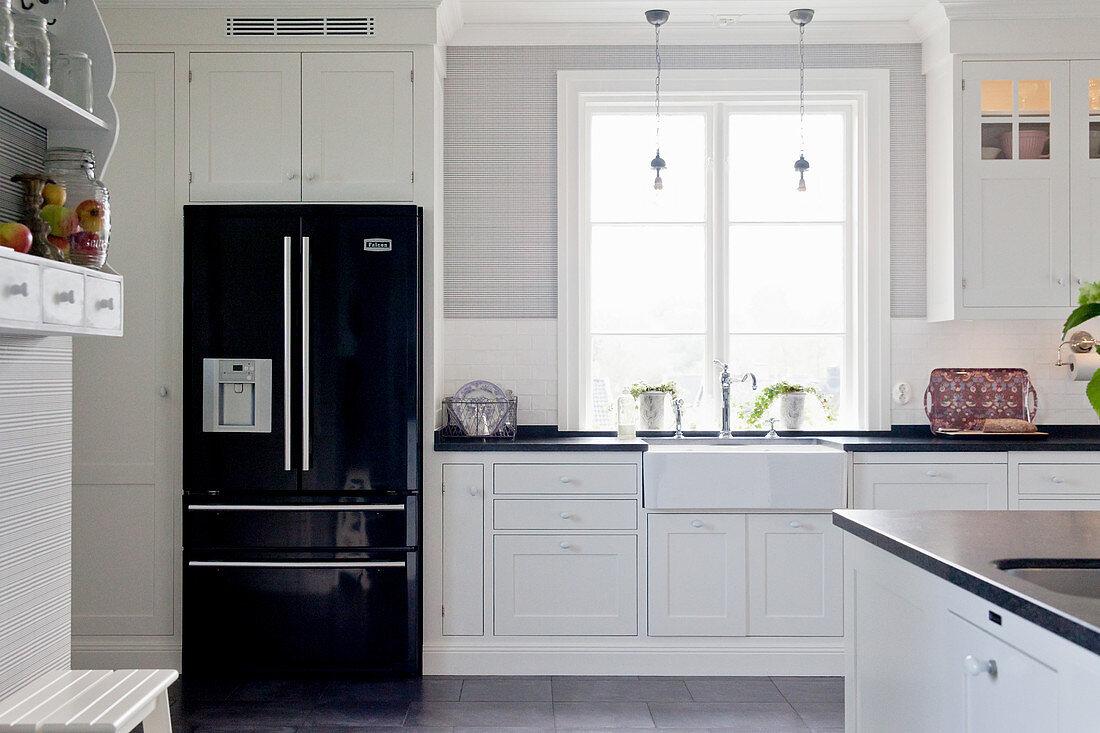 Black Fridge In White Country House Buy Image 12358615 Living4media