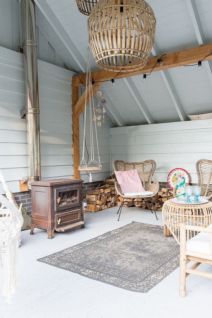 Wood-burning stove in cosy seating area under sloping ceiling