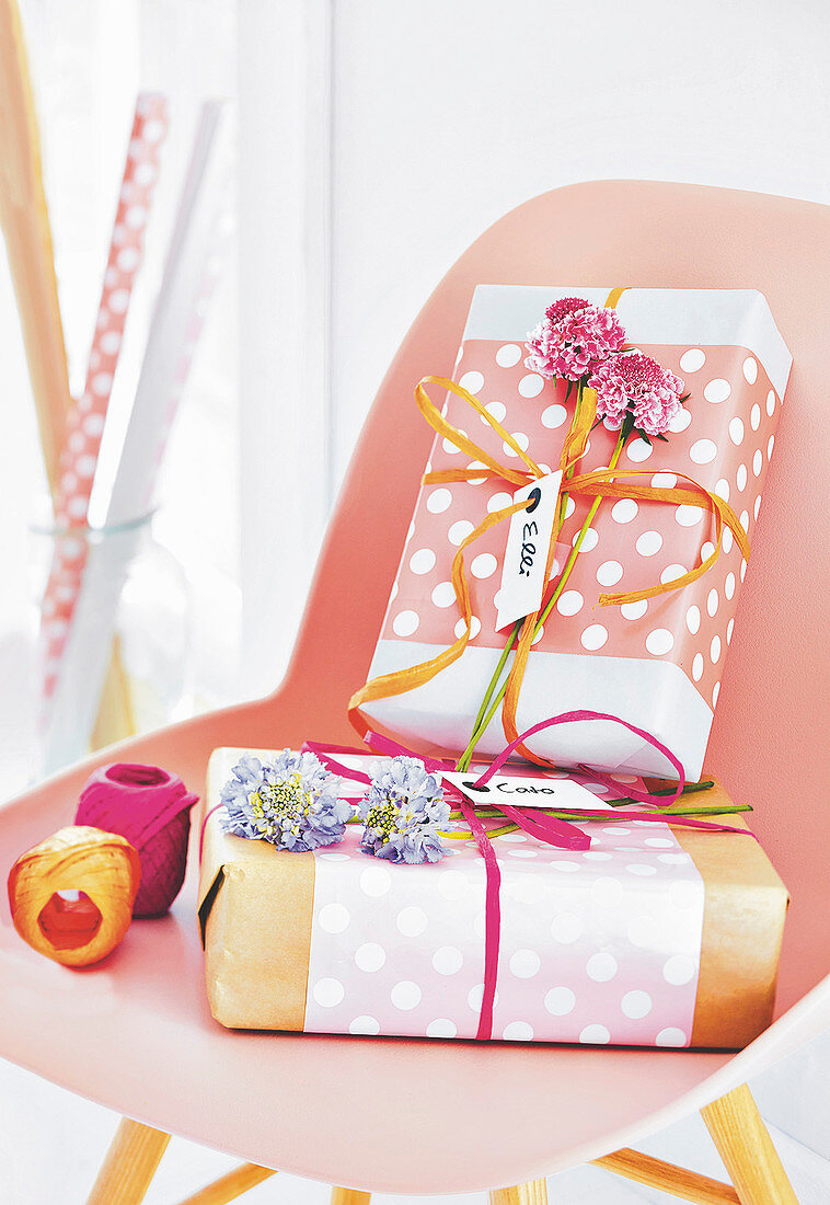 Presents wrapped in polka dot wrapping paper