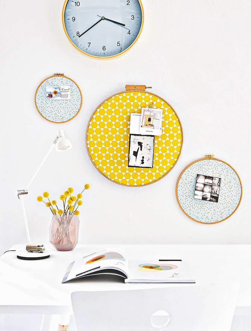 Homemade pinboards made from embroidery and quilting rings