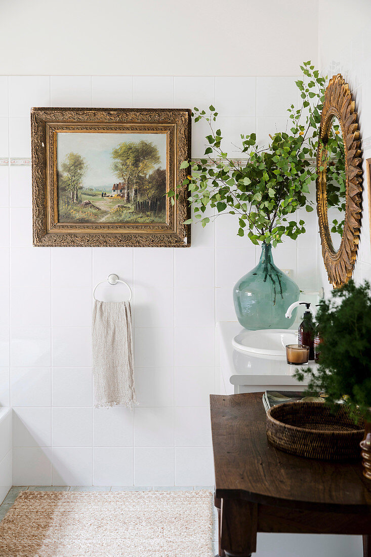 Old painting in the bathroom with rustic decoration