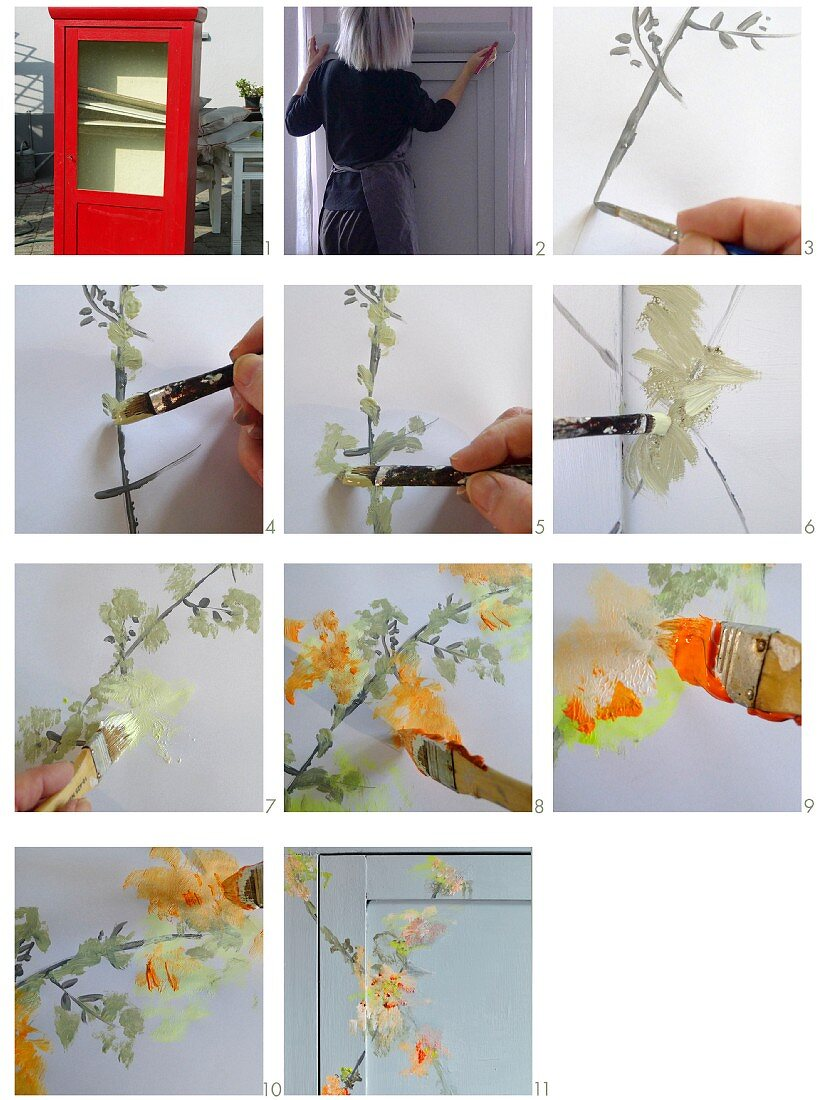 Instructions for painting a cupboard with floral ornaments