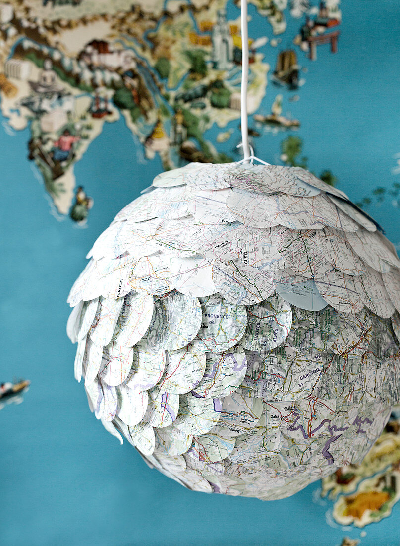 Homemade globe lamp with circles from maps