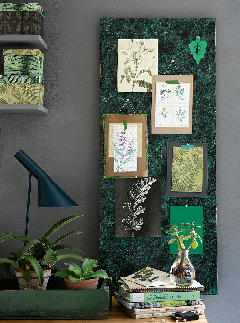 Pinboard with green marble adhesive Contact paper and botanical motifs