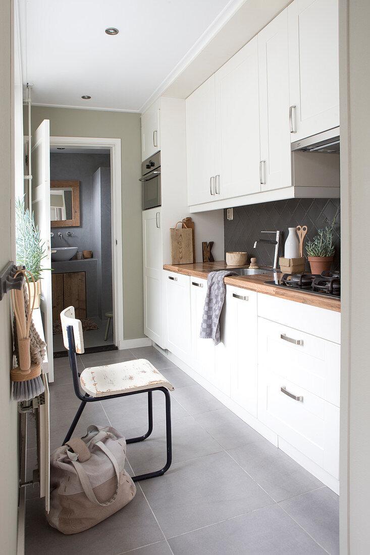 Narrow Kitchen With White Kitchenette Buy Image 12853837 Living4media