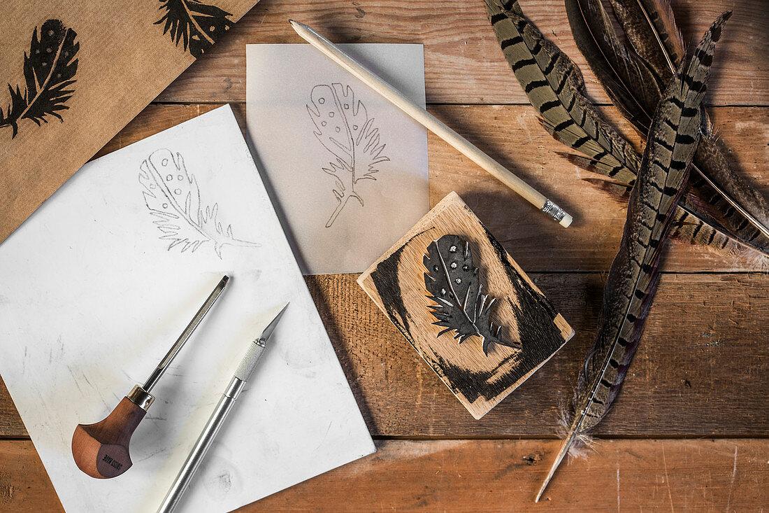 A decorative DIY feather stamp