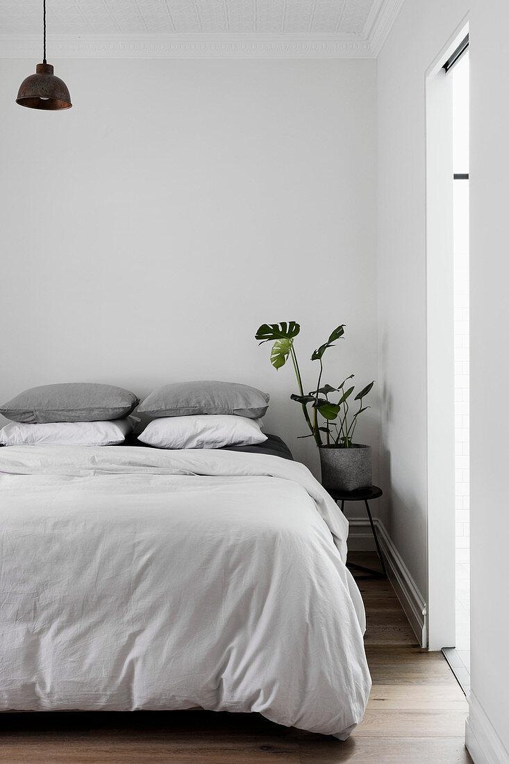 Minimalist bedroom in white