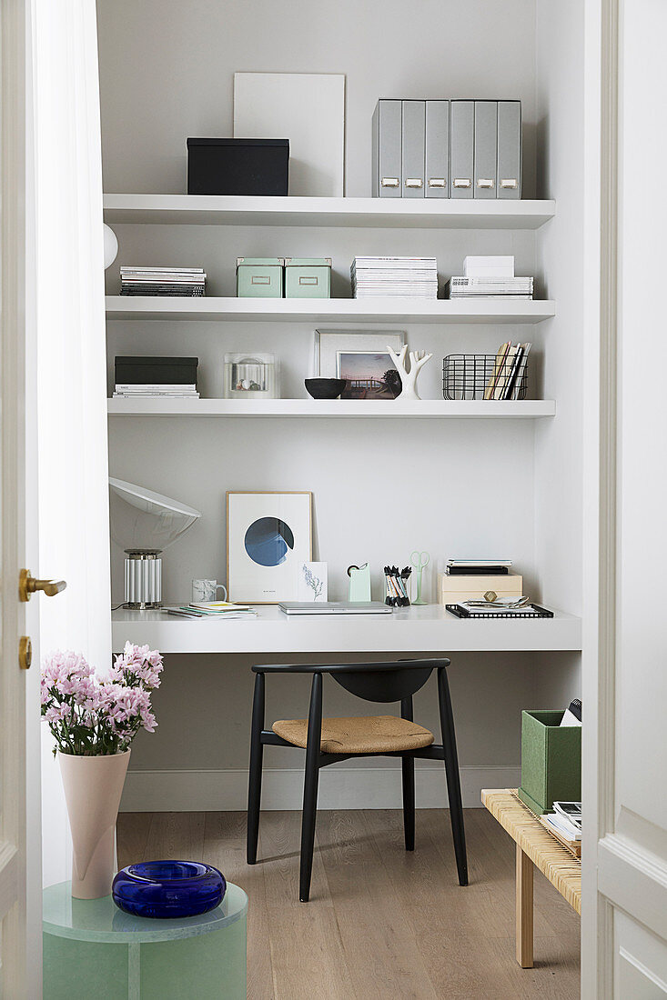 Study with fitted desk and shelves
