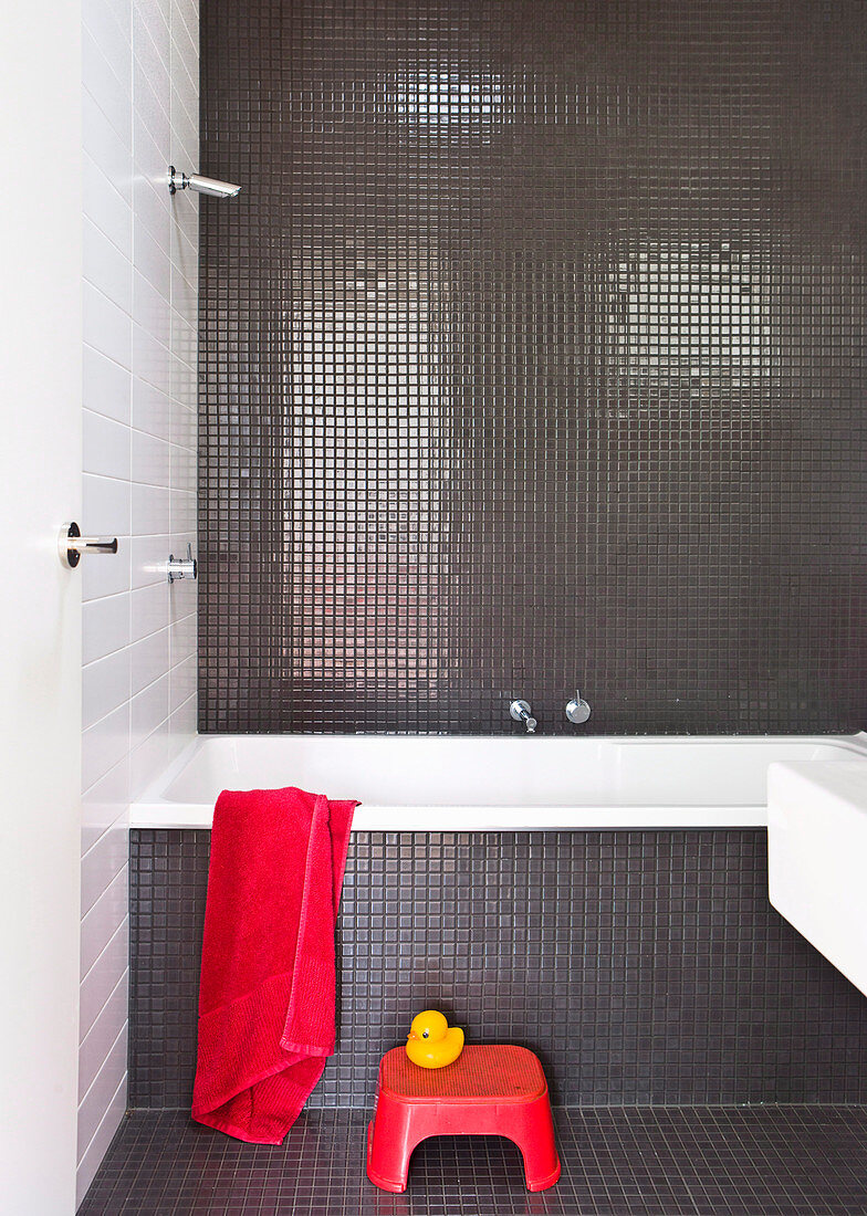 Bathroom With Gray Mosaic Tiles Red Buy Image 12601353 Living4media