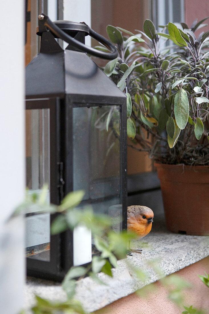 Bird figurine behind lantern on windowsill