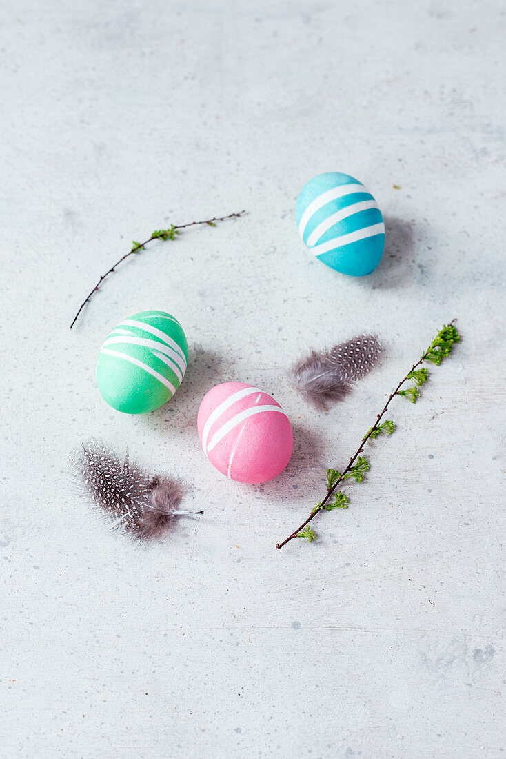 Colourful Easter eggs, spring twigs and quail's feathers