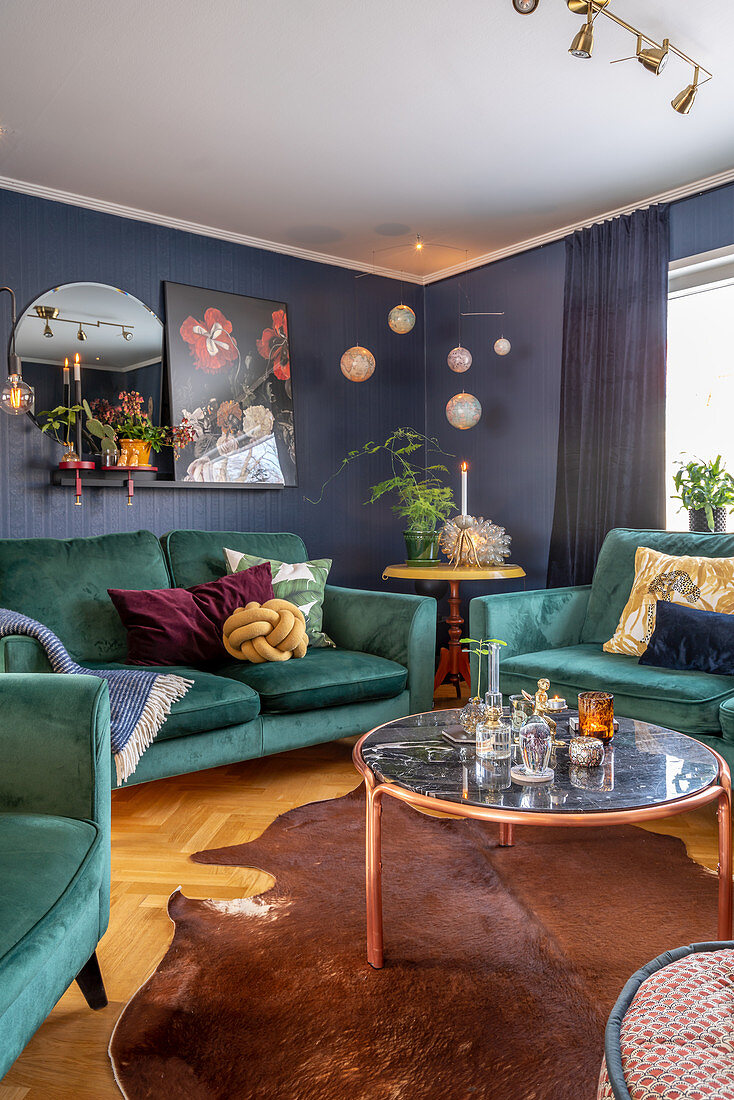 Picture of: Teal Sofa Set In Interior With Blue Buy Image 12610795 Living4media