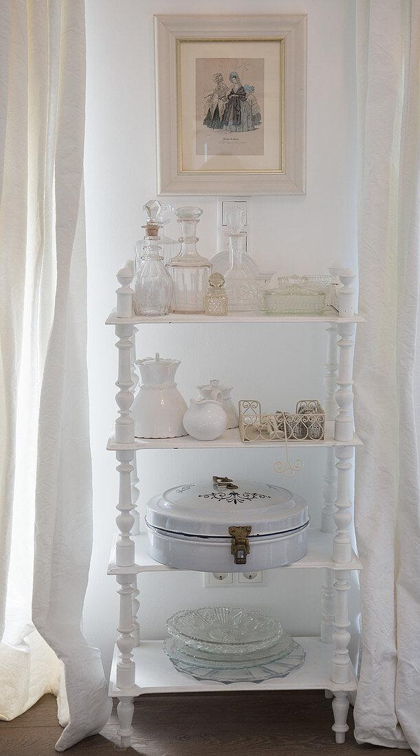 Vintage ornaments on white shelves