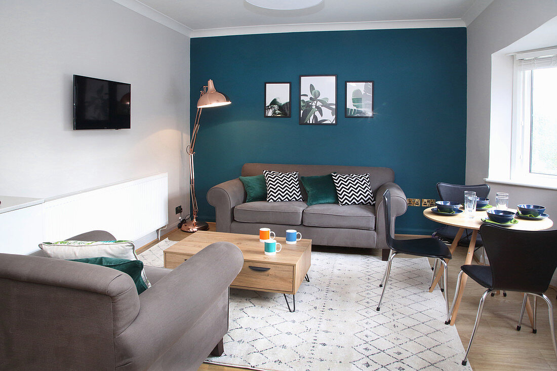 Picture of: Living Room With Grey Sofa Set Dining Buy Image 12663873 Living4media