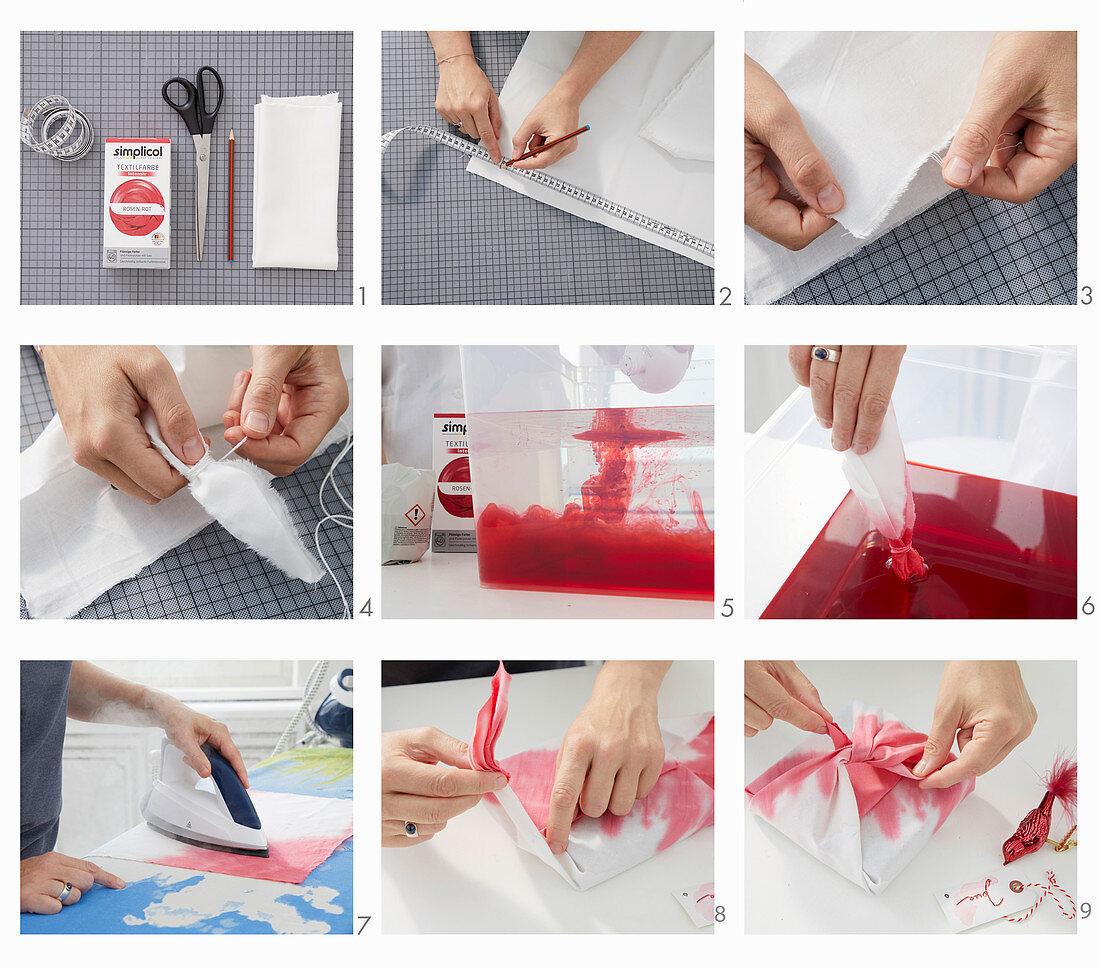 Making furoshiki fabric gift wrap