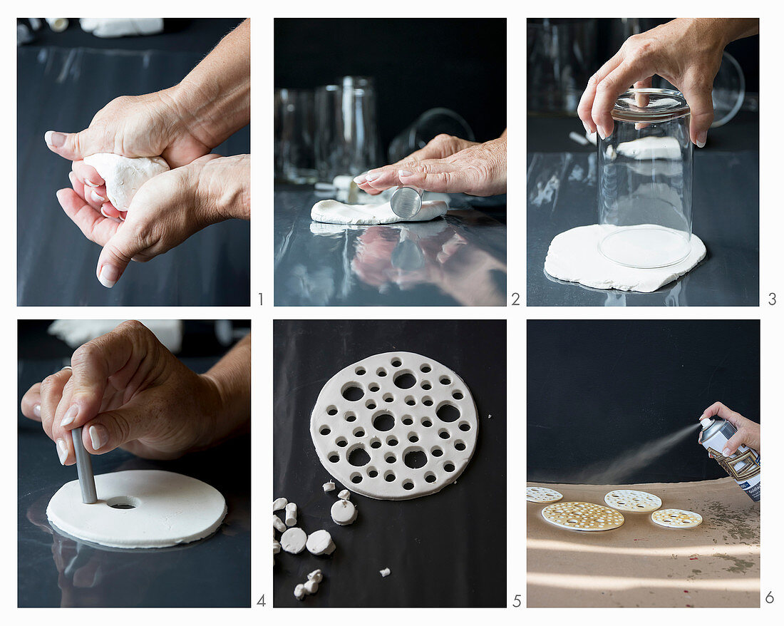 Instructions for making perforated vase lids from modelling clay