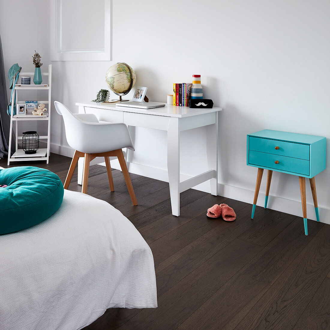 White Desk Shell Chair And Turquoise Buy Image 12671257 Living4media