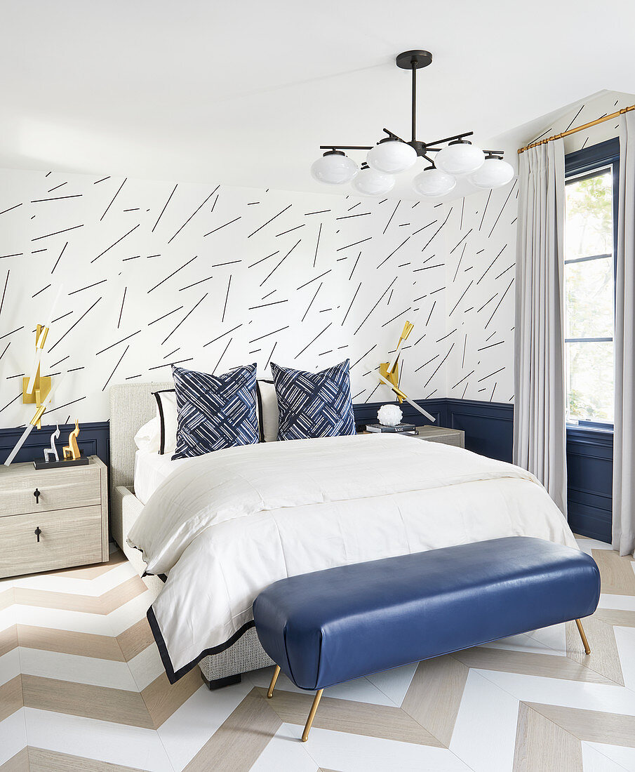 Double bed and blue bedroom bench