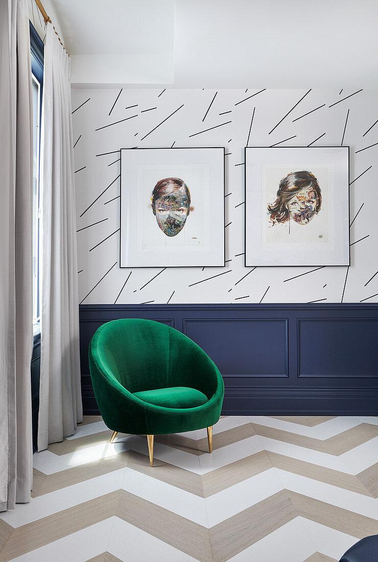 Round, green velvet chair in bedroom