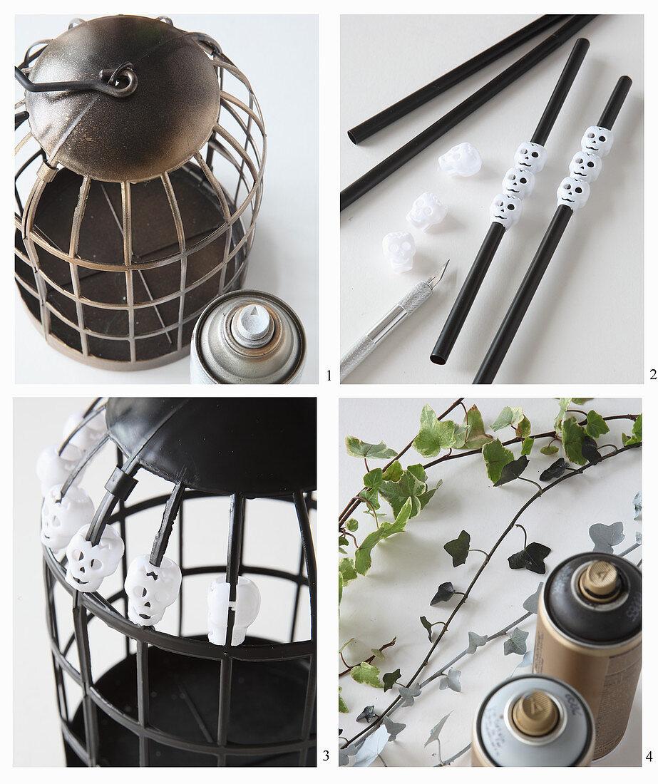 Birdcage as Halloween decoration