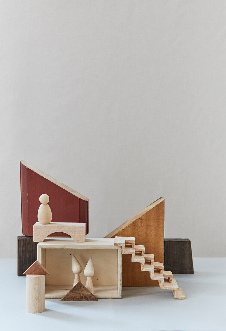 Abstract nativity scene made from wood remnants