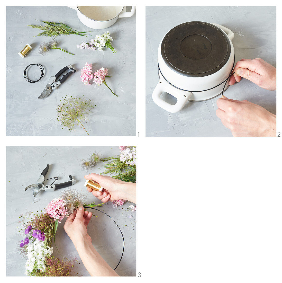 Make your own wreath from flowers and seed heads