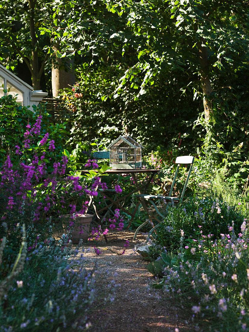 Secluded seating area hidden in garden