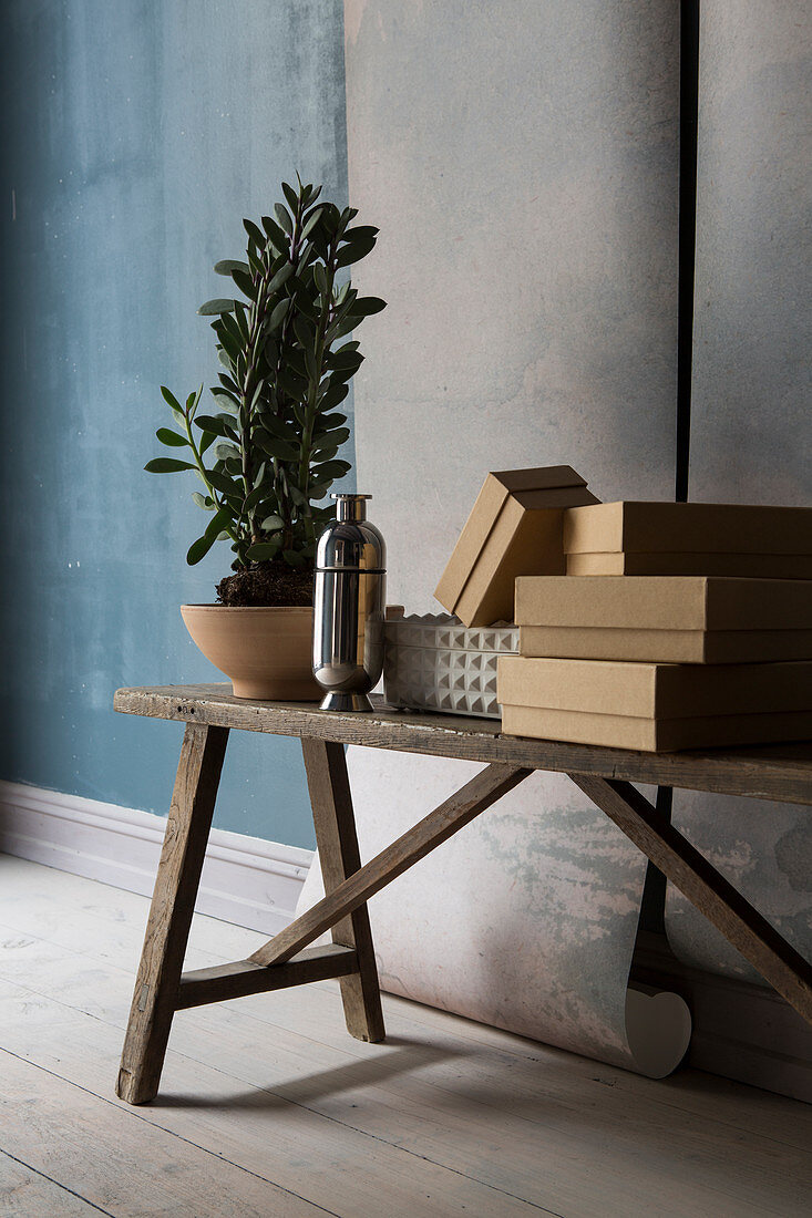 Boxes, vase and plant on wooden bench in front of lengths of wallpaper