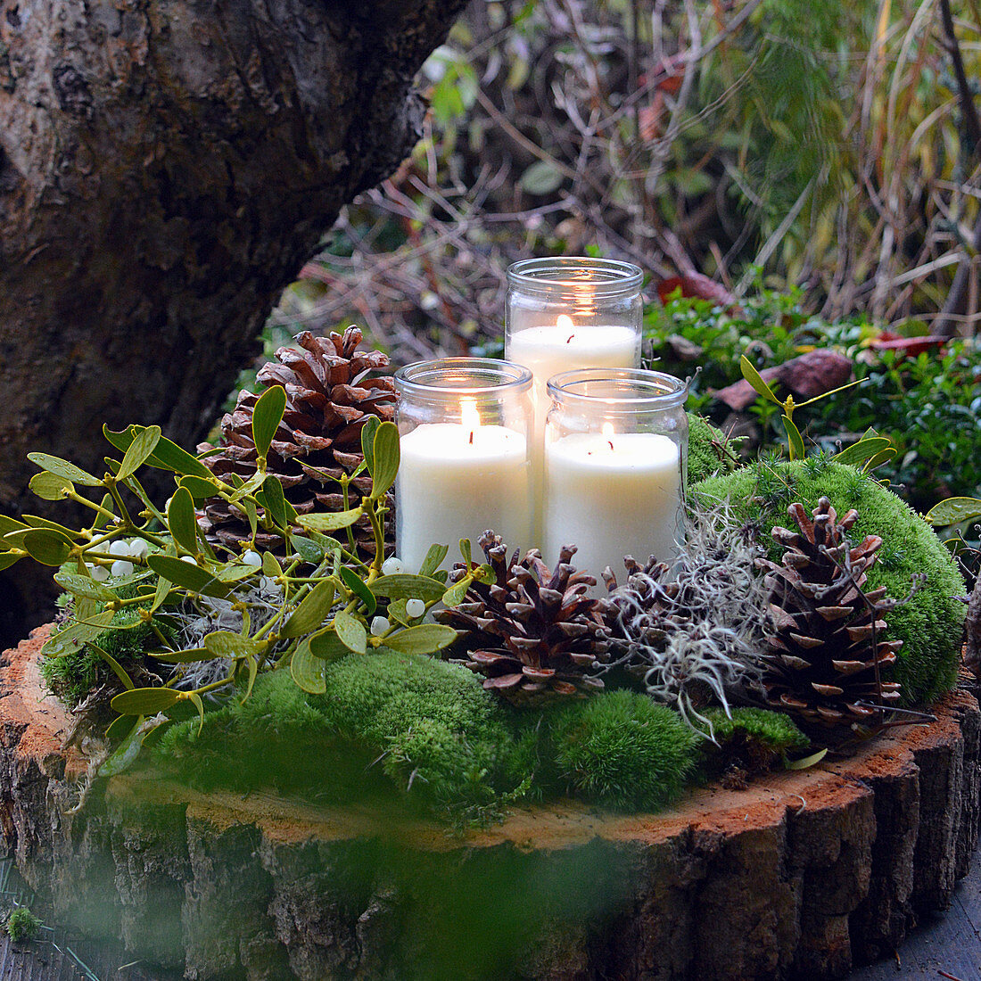Winter candle decoration with cones, moss and mistletoe on a wooden disc