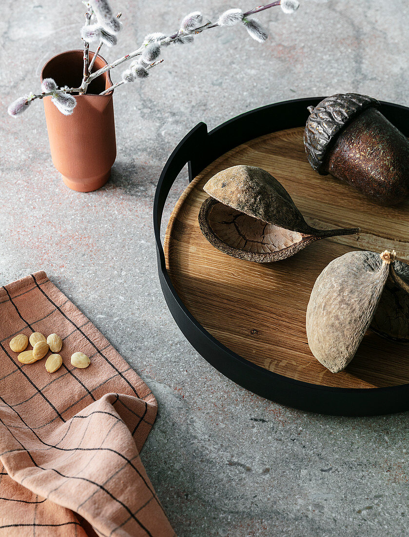 Dried seed pods on tray and accessories in shades of brown