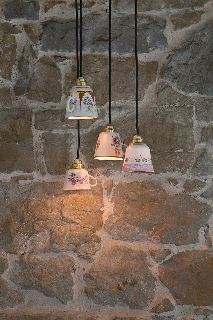 DIY lampshades made from vintage-style teacups