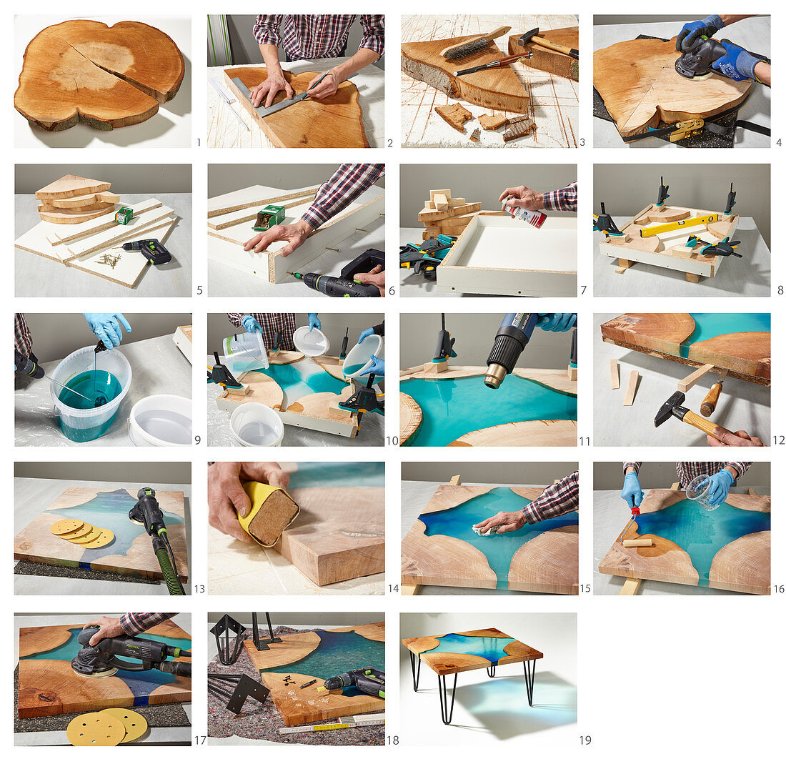 Instructions for making a wood and resin coffee table with hairpin legs