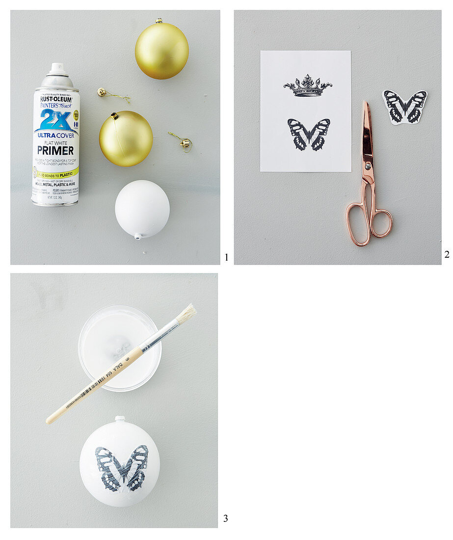 Instructions for decorating Christmas baubles with black-and-white decoupage motifs
