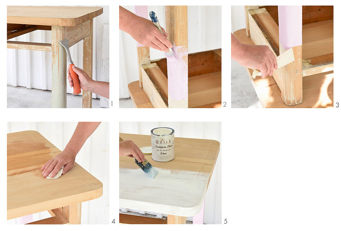 Instructions for renovating and repainting an old wooden table