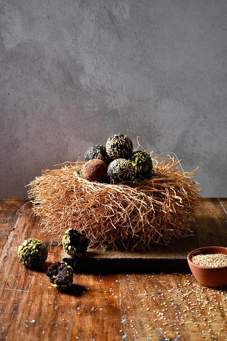 Energy balls in Easter nest