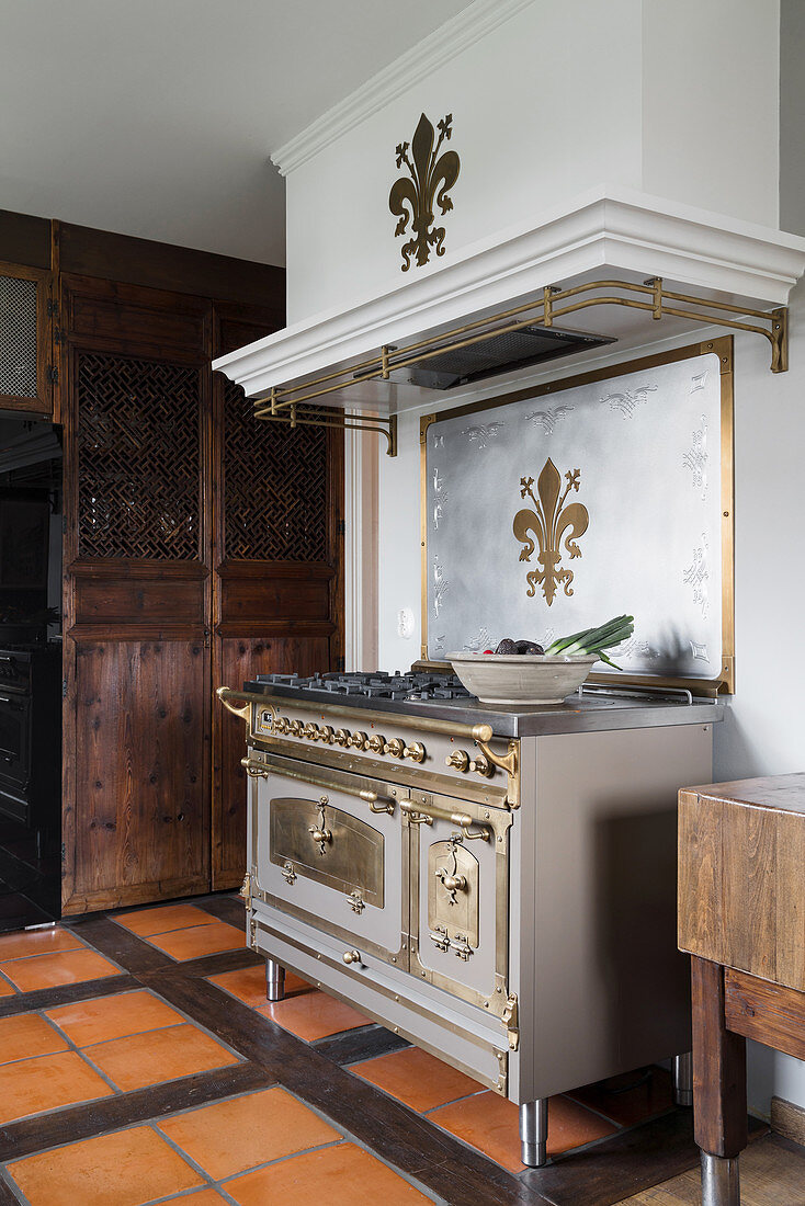Antique, solid fuel cooker decorated with fleur-de-lis in rustic kitchen